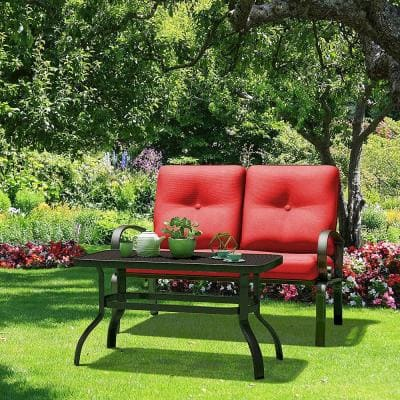 2-Piece Metal Outdoor Patio Fabric Loveseat and Table Set Outdoor Furniture Set Yard Garden with Red Cushion