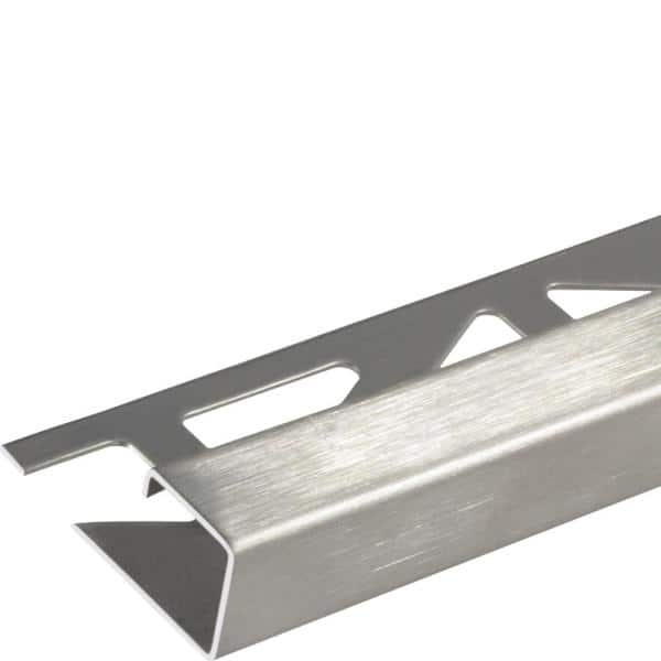 Dural Squareline Profile 11 32 In Square Edge Brushed Stainless Steel Metal Tile Edge Trim Dpse90 Sf The Home Depot