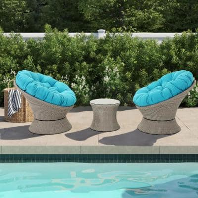 3-Piece Swivel Wicker Deep Seating Patio Conversation Set with Blue Cushions