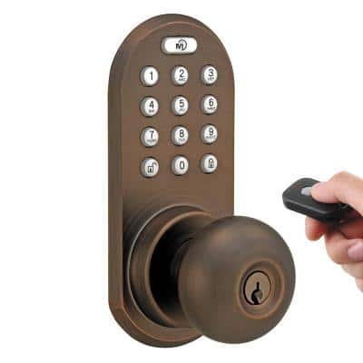 Oil-Rubbed Bronze Touch Pad and Remote Electronic Entry Door Knob