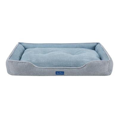 Arlo Large Blue Plaid Dog Bed