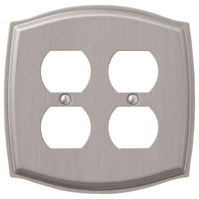 Vineyard 2-Gang 2 Duplex Steel Wall Plate - Brushed Nickel