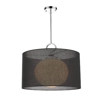 1-Light Chrome Pendant with Black Fabric Shade