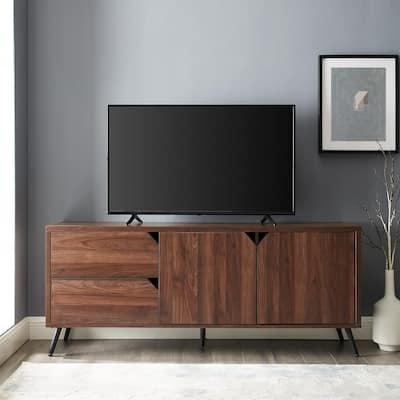 60 in. Dark Walnut Composite TV Stand 65 in. with Adjustable Shelves