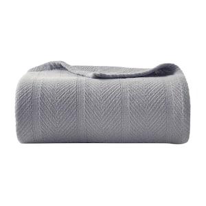 Gray Solid Cotton Full/Queen Woven Blanket