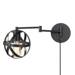 Tatum 15 in. 1-Light Dark Bronze Plug-In or Hardwire Swing Arm Wall Sconce