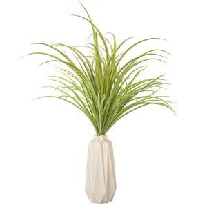 26 in. Tall Plastic Grass Artificial Indoor/ Outdoor Faux Decor in Grey Ceramic Vase