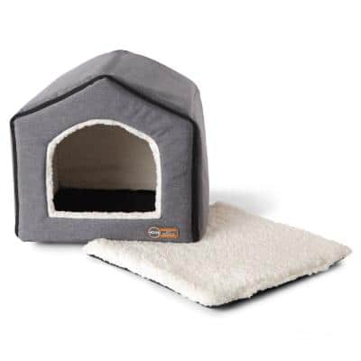 16 in. x 15 in. x 14 in. Classy Gray/Natural Indoor Pet House