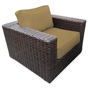 Santa Monica Wicker Outdoor Club Lounge Chair with Sunbrella Heather Beige Cushions
