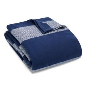 Boylston Navy Blue Striped Cotton King Woven Blanket