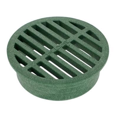 4 in. Plastic Round Drainage Grate in Green