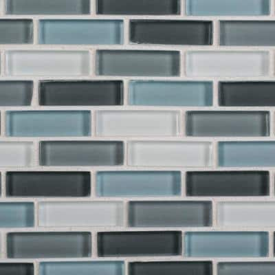 Malibu Breeze Blue 9.75 in. x 11.875 in. Interlocking Glossy Glass Mosaic Tile (0.804 sq. ft./Each)