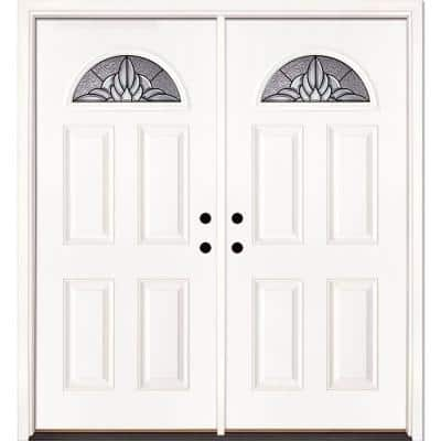 66 in. x 81.625 in. Sapphire Patina Fan Lite Unfinished Smooth Right-Hand Inswing Fiberglass Double Prehung Front Door