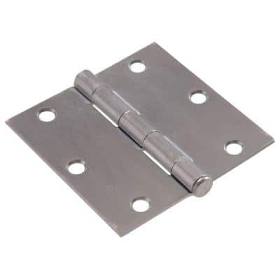 3-1/2 in. Satin Chrome Residential Door Hinge with Square Corner Removable Pin Full Mortise (9-Pack)