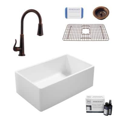 Ward All-in-One Farmhouse Fireclay 33 in. Single Bowl Kitchen Sink with Pfister Bronze Faucet and Strainer
