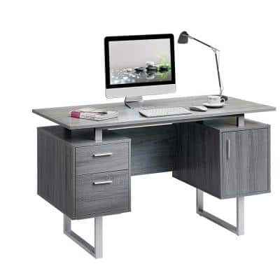 52 in. Rectangular Gray/Chrome 2 Drawer Computer Desk with File Storage