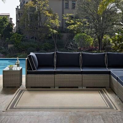 Rim in Gray and Beige 9 ft. x 12 ft. Solid Border Indoor/Outdoor Area Rug