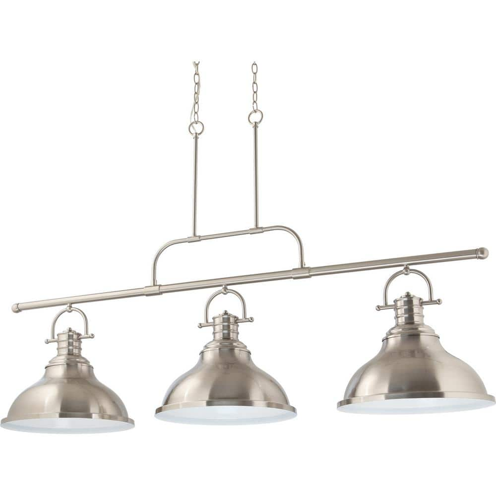 Volume Lighting 3 Light Indoor Brushed Nickel Linear Kitchen Island Hanging Pendant With Bell Shaped Bowls V1178 33 The Home Depot