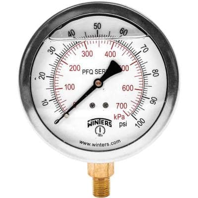 4 in. Stainless Steel Liquid Filled Case Pressure Gauge with 1/4 in. NPT Bottom Connection and Range of 0-100 psi/kPa