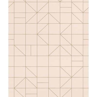 Teague Light Pink Geometric Paper Strippable Wallpaper (Covers 56.4 sq. ft.)
