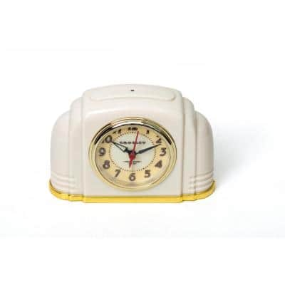 33388D- Deco Bakelite White Arch Alarm Clock