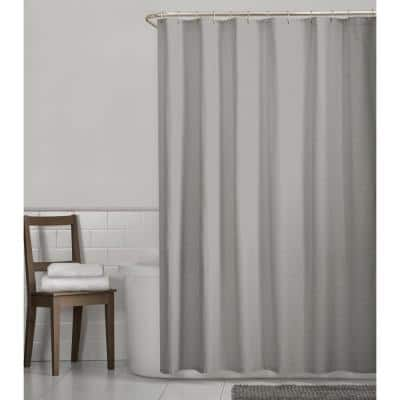 Luxury Spa Waffle 70 in. x 72 in. Fabric Shower Curtain in Grey