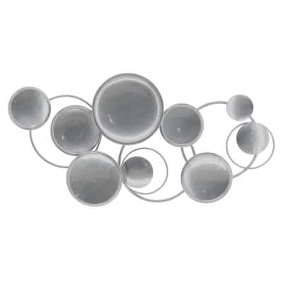 Modern Silver Circles Metal Mixed Media Wall Art