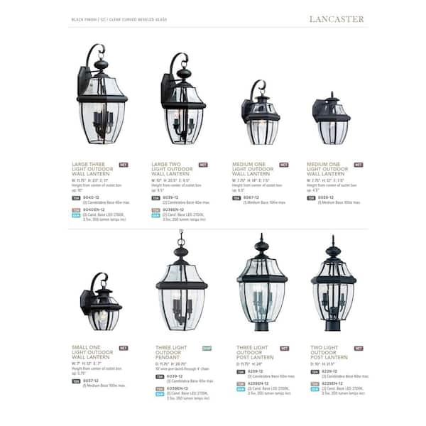 Sea Gull Lighting Lancaster 1 Light Black Outdoor Wall Lantern Sconce 8038 12 The Home Depot