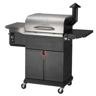 573 sq. in. Wood Pellet Grill and Smoker 7-in-1 BBQ in Black
