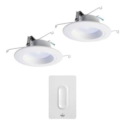5/6in Tunable CCT Smart Integrated LED Recessed Retrofit Trim (2-Pack) and Anyplace Smart Bluetooth Dimmer by HALO Home