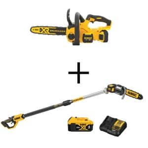 12 in. 20V MAX Lithium-Ion Cordless Brushless Chainsaw Kit w/8 in. 20V MAX Lithium-Ion Cordless Pole Saw Kit Included