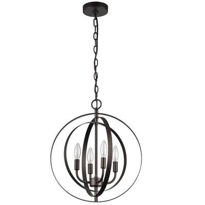 4-Light Oil Rubbed Bronze Globe Hanging Pendant Lighting