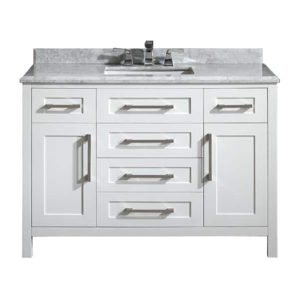 Home Decorators Collection Santa Monica 48 In W X 21 In D Vanity In White With Marble Vanity Top In White With White Basin Santa Monica 48 The Home Depot