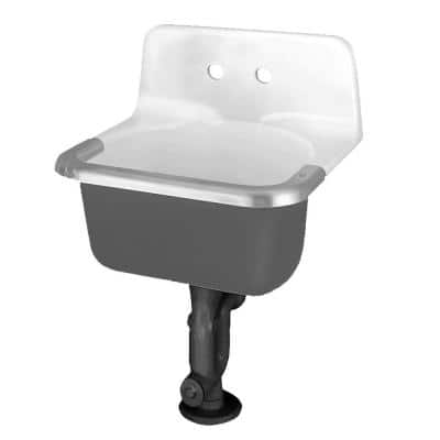 Akron Service Sink with Drilled Back on 8 in. Centers and Rim Guard in Glossy Porcelain