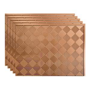 Miniquattro 18 in. x 24 in. Polished Copper Vinyl Decorative Wall Tile Backsplash 15 sq. ft. Kit