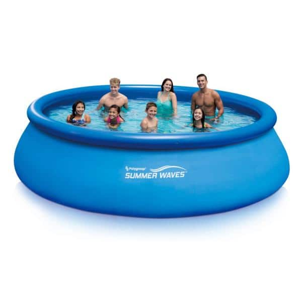 Summer Waves Inflatable Ring Quick Set 15 Ft X 42 In D Round Above Ground Pool With Rx1000 Filter Pump System P1001542f156 The Home Depot