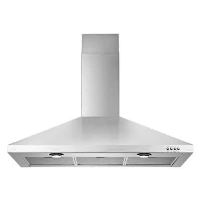 36 in. 300 CFM Vented Wall-Mount Range Hood with Light in Stainless Steel