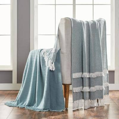 2-Pack Dion Eucalyptus 100% Cotton 50 in. x 60 in. Throw Blanket