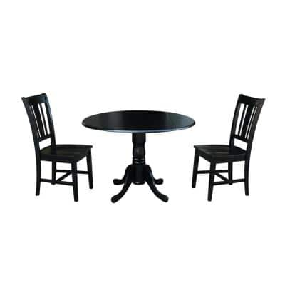 Brynwood 3-Piece 42 in. Black Round Drop-Leaf Wood Dining Set with San Remo Chairs