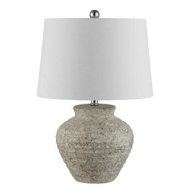 Ledger 22. 5 in. Light Gray Table Lamp with White Shade