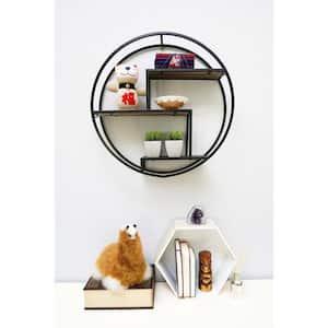 23 in. Black Round Wall-Mounted Iron Hanging Storage Floating Shelves
