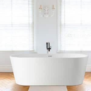 Bordeaux 54 in. Acrylic Flatbottom Freestanding Bathtub in White