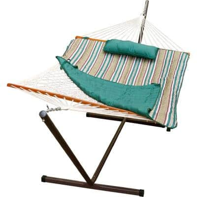 12 ft. Cotton Rope Hammock, Pad, Pillow and Stand Combo