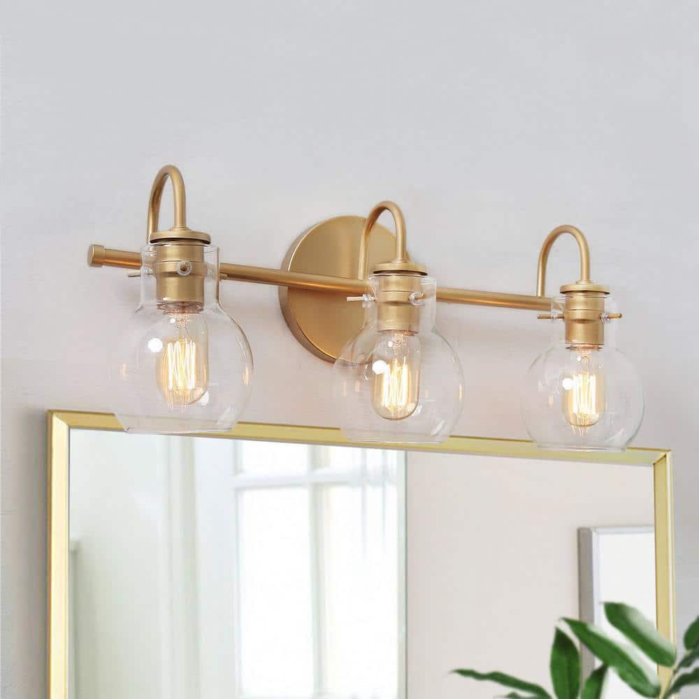 Laluz Robb Modern 3 Light Gold Bathroom Vanity Light Interior Powder Room Lighting With Clear Globe Shades Llrbvyhl135697v The Home Depot