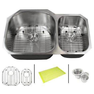 Emoderndecor Undermount 16 Gauge Stainless Steel 31 1 2 In X 20 1 2 In X 9 In 70 30 Offset Double Bowl Kitchen Sink Combo 16g 909l Pk The Home Depot