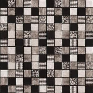 Gray Black 11.7 in. x 11.7 in. Polished Glass Mosaic Tile (9.51 sq. ft./Case)