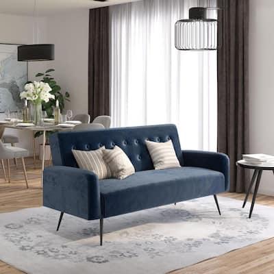 Stevie Blue Velvet Convertible Sofa Bed Futon