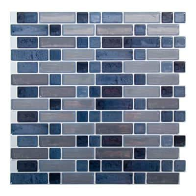 6-Pieces 10 in. x 10 in. Blue Truu Design Self-Adhesive Peel and Stick Accent Wall Tiles