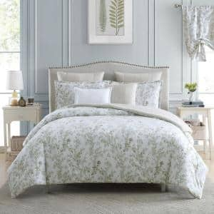Lindy 5-Piece Green Floral Cotton Twin Comforter Set