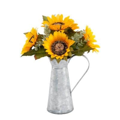13 in. H Fall Harvest Yellow Artificial Sunflowers in Galvanized Watering Tin